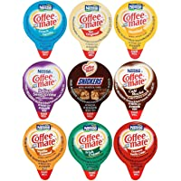 Coffee Mate Liquid Creamers, 9 Flavor Variety Pack, 36 Count with Spice of Life Stirrer
