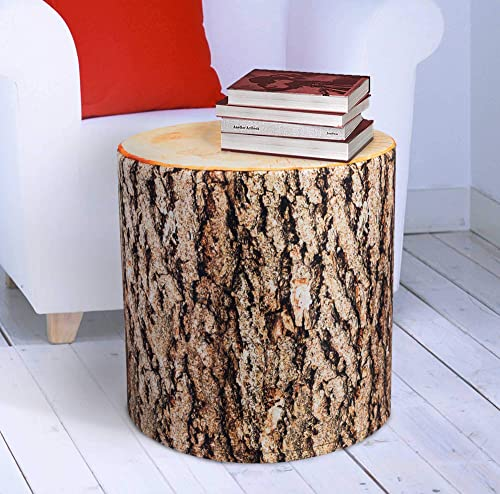 PSCube Elm Log Tree Stump End Table Pouf Cube Stool Ottoman Bench Seat Foot Rest. Sturdy 350 lb . Sit on Any Side. Multifunctional. H18''xD18'' Soft .
