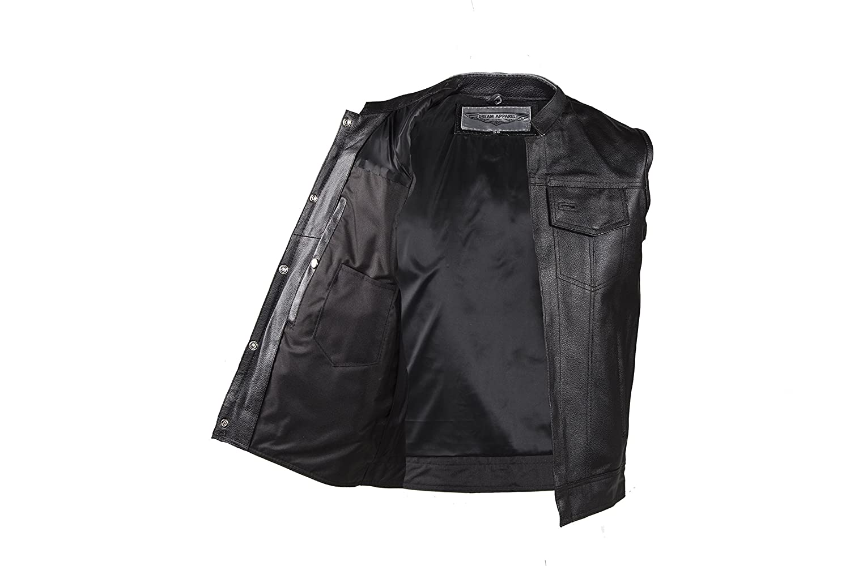 Dream Apparel Mens Leather Vest With Concealed Carry Pocket /& Black Liner MV320-11-54