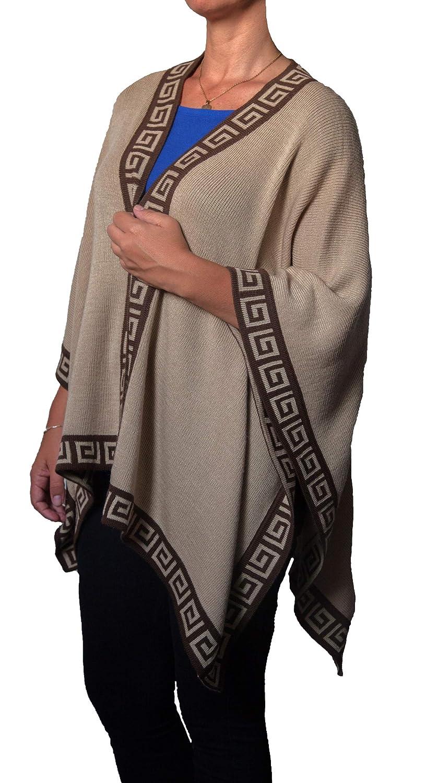 TINKUY PERU  Peruvian Alpaca Wool  Women´s Reversible Inca Beige & Brown Geometric Design  Pashmina Cape Poncho Ruana