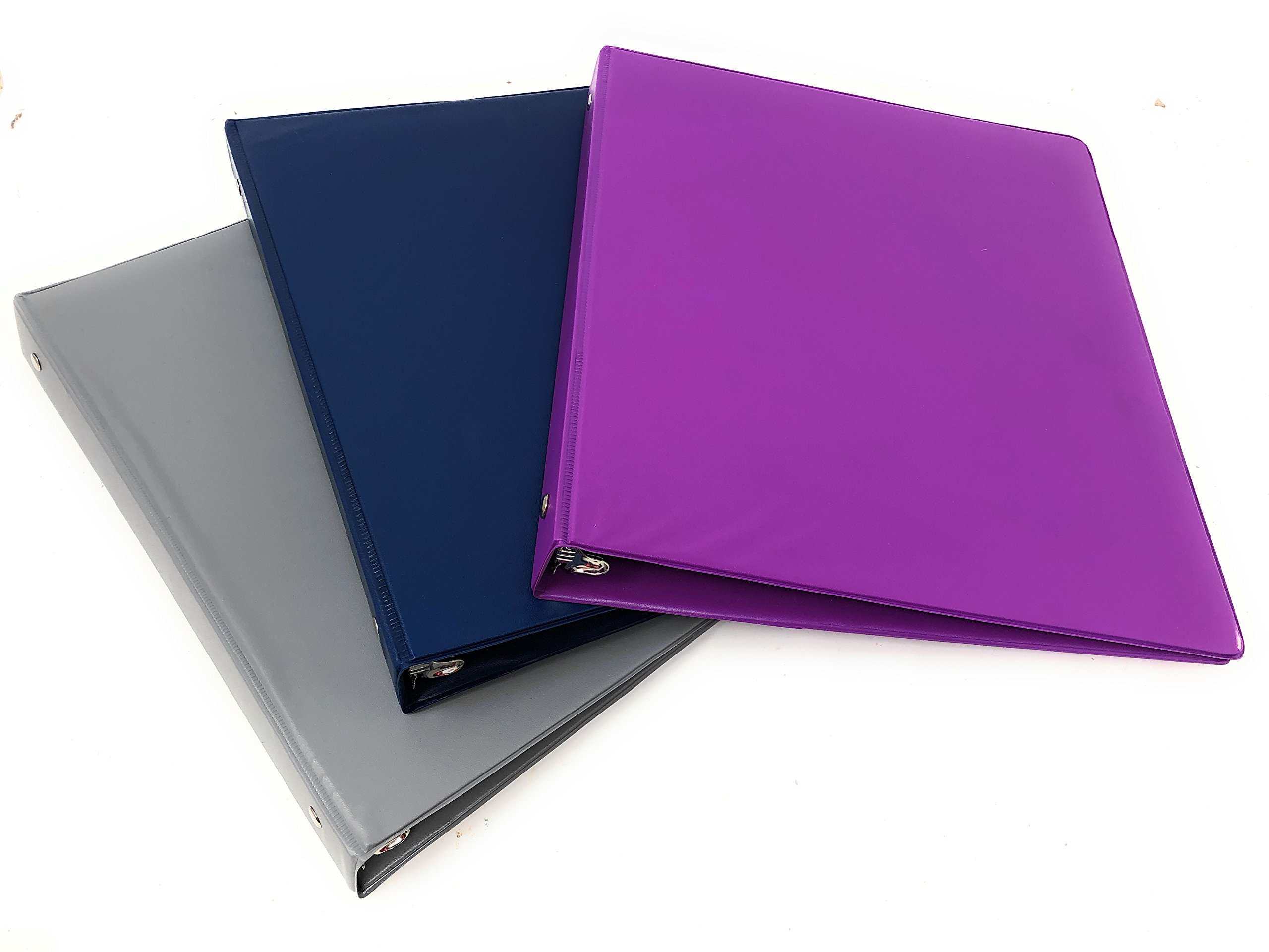Durable Fashion Color 3 Ring Binder, 1 inch Round Rings, Customizable Binder, 3 Pack (Blue, Purple, Gray)