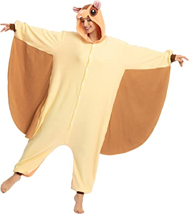 Amazon Com Spooktacular Creations Unisex Adult Pajama Plush Onesie One Piece Flying Squirrel Animal Costume Clothing