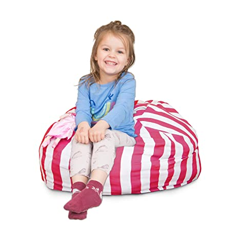 Amazing Stuffed Animal Bean Bag Chair For Kids Large Storage For Toys And More Pink And White Stripe Lounger For Children 27 Theyellowbook Wood Chair Design Ideas Theyellowbookinfo