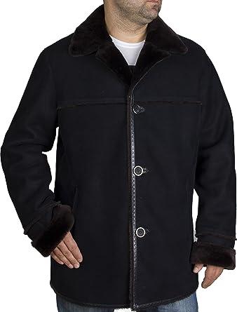 22caa5cb378ea Zavelio Men s Genuine Shearling Sheepskin Classic Winter Coat at Amazon Men s  Clothing store