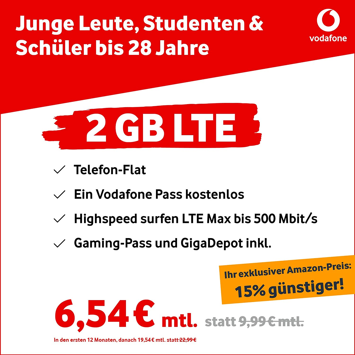 Vodafone Young S 2GB LTE Max with up to 500 Mbit: Amazon co