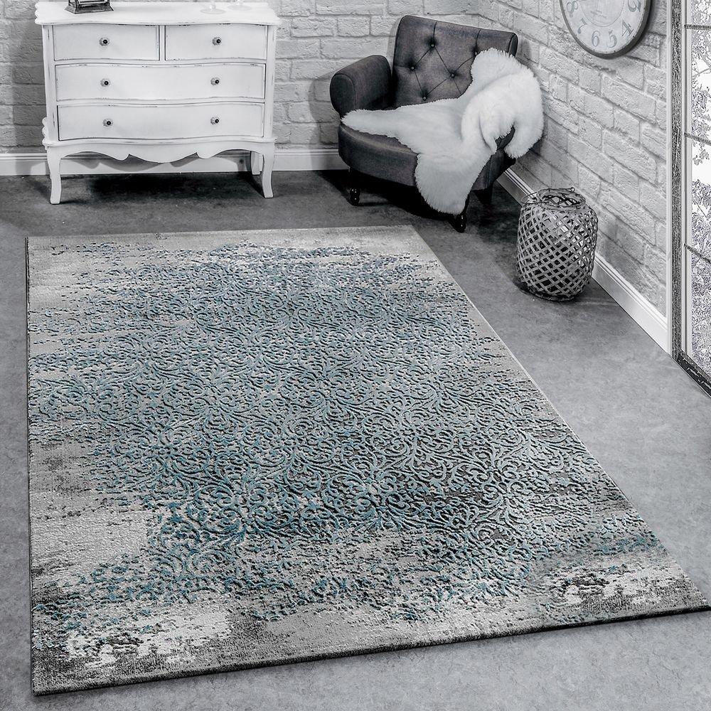 Paco Home Designer Teppich Modern Wohnzimmerteppich Mit Muster Ornamente Grau Blau, Grösse 160x230 cm