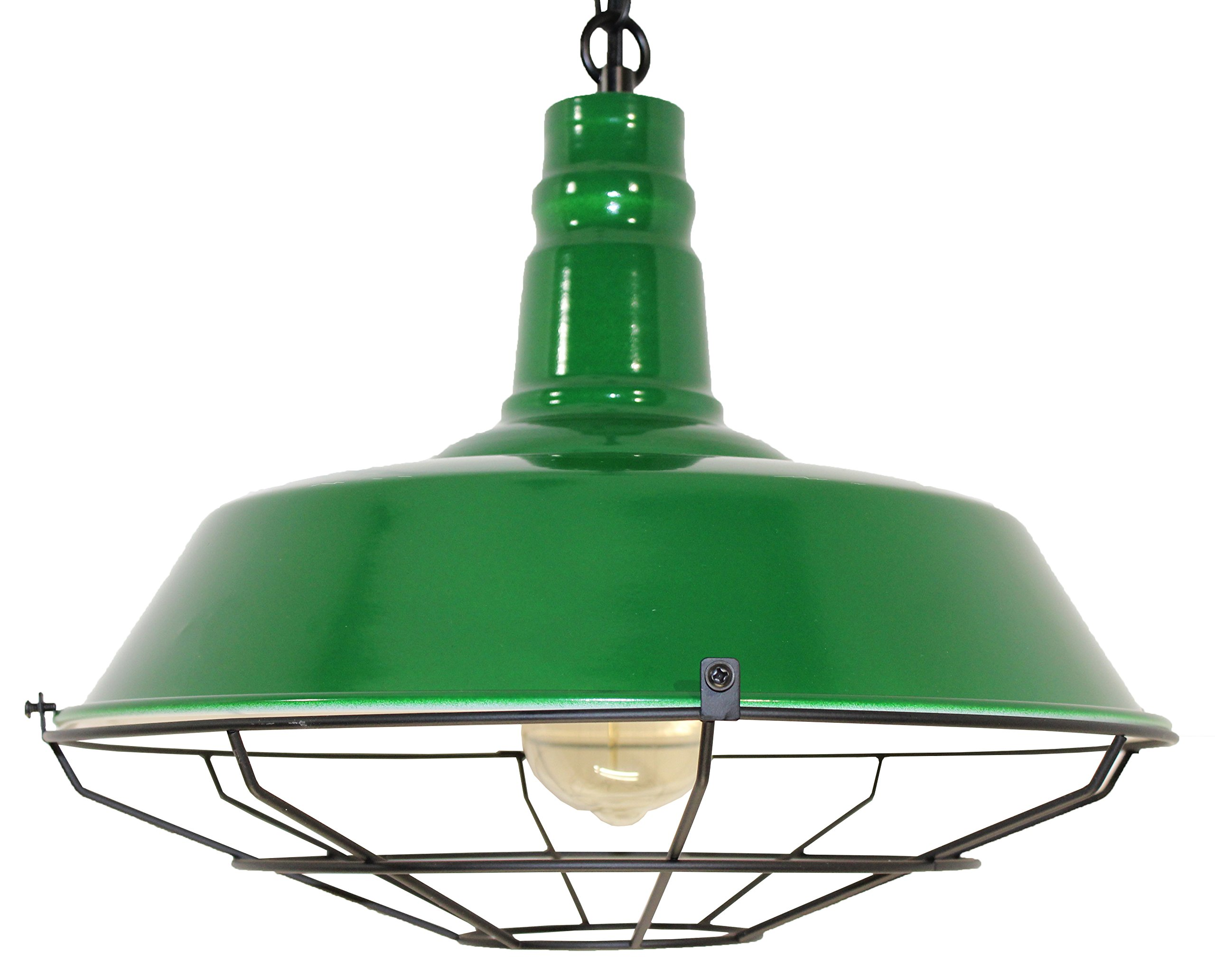 Vintage Industrial Pendant Light - Retro Style Light Fixture - Great Chic Lighting for Kitchen Islands, Dining Room, Living Room, Family Room, Bar, Restaurant, Lounge, Rustic Farmhouse Decor (Green)