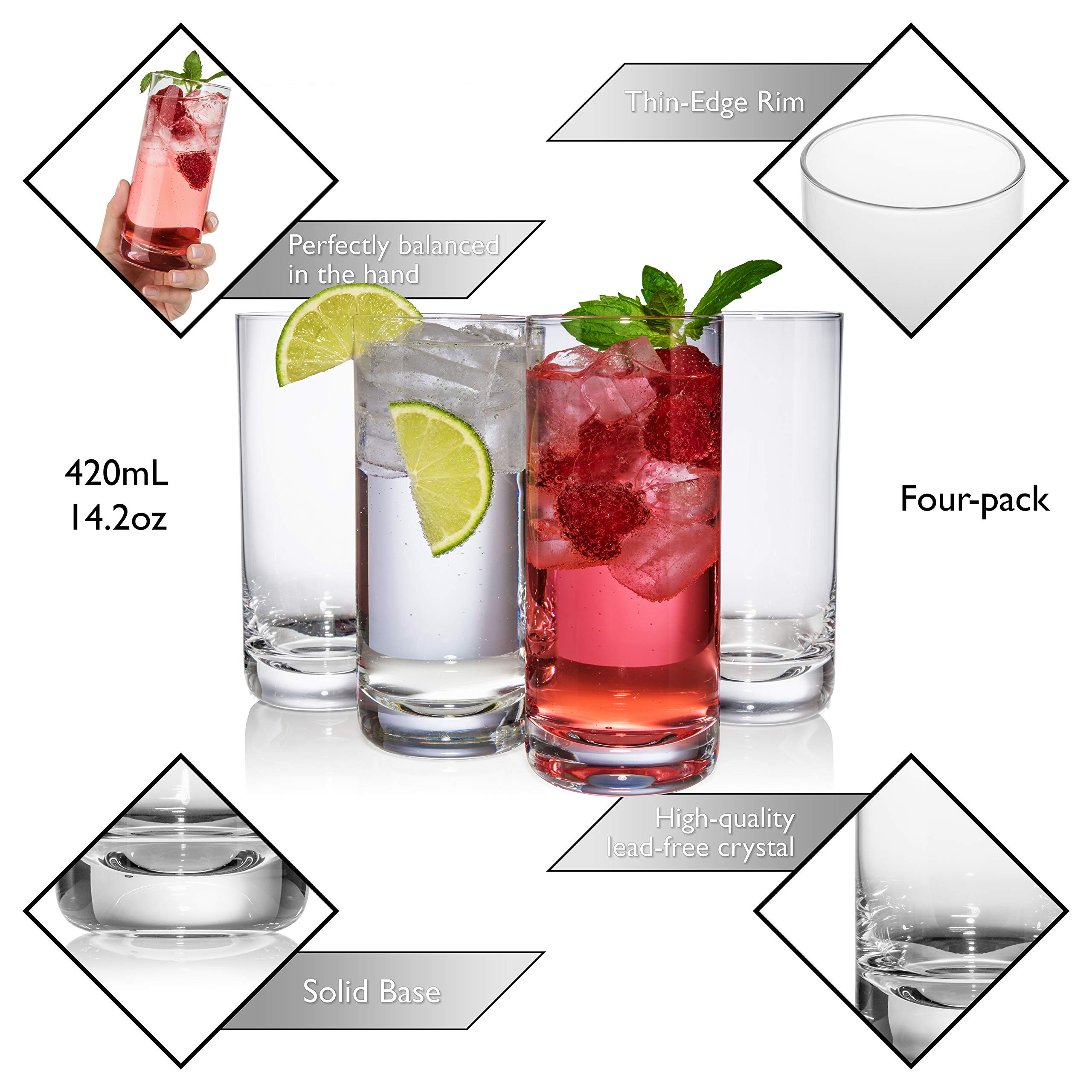 JoyJolt Stella Lead Free Crystal Highball Glass 14.2-Ounce Barware Collins Tumbler Drinking Glasses For Water, Juice, Beer, And Cocktail Set Of 4 by JoyJolt (Image #4)