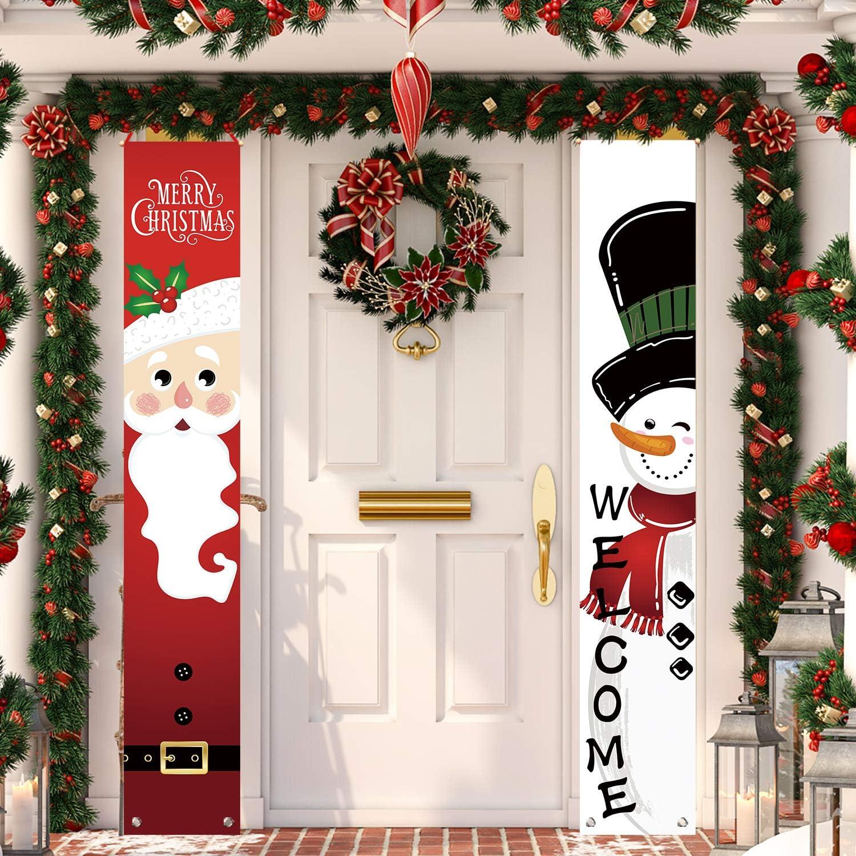 Christmas SANTA Noel Holiday SNOWMAN Joy Wall Door Porch Hanging Sign Art Decor