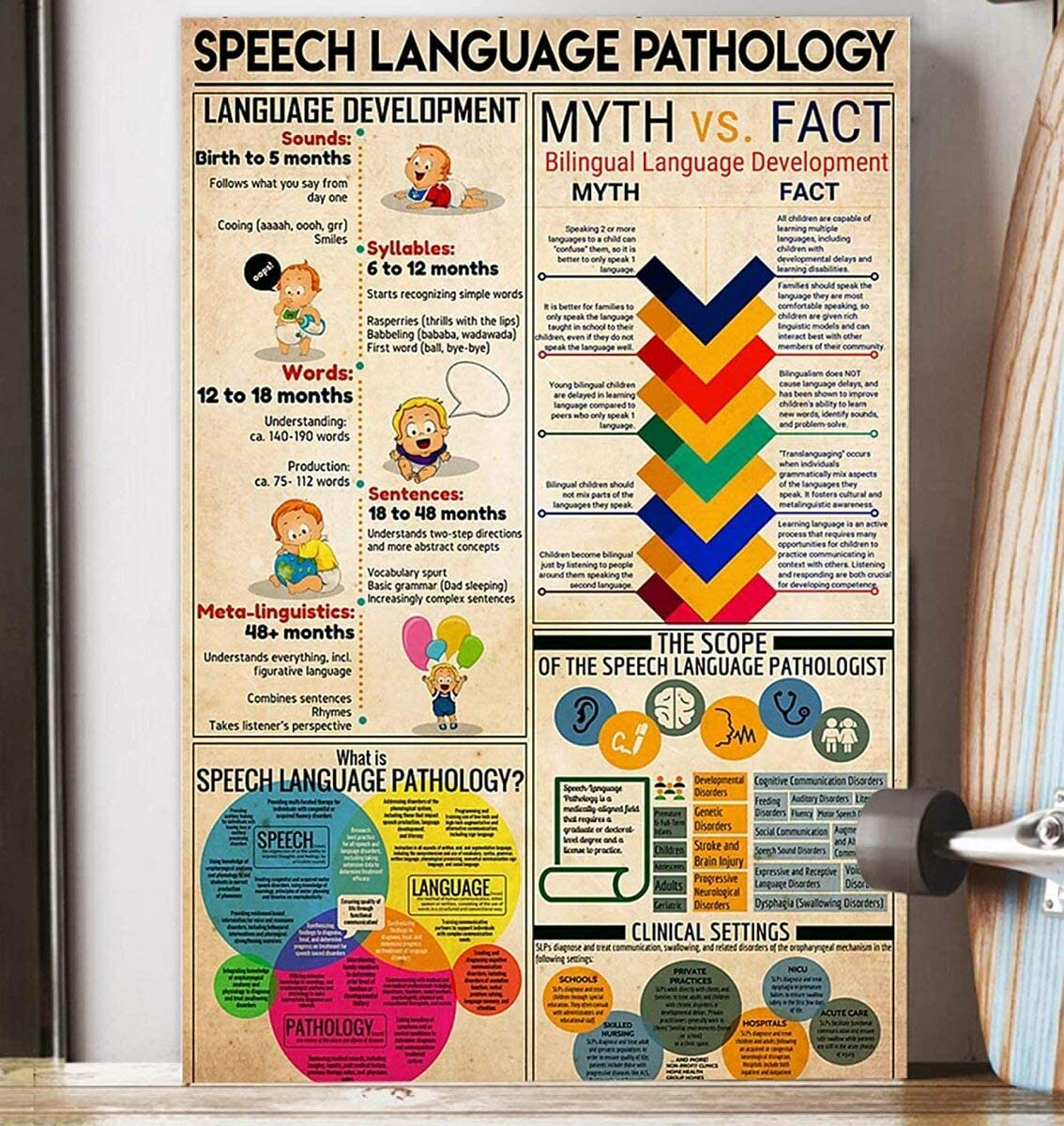 Speech Language Pathology Canvas Decor Home, Wall Art Canvas 0.75 Inch Print Decor (Size 8x12, 12x18, 16x24, 24x36 Inches)