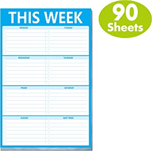 """Weekly Planner List Note Pad to Do List with Magnet Mountings for Fridge Locker (90 Pages 6"""" x 9"""")"""
