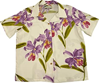 product image for Paradise Found Women's Orchid Corsage Palm Aloha Shirt, White, XL