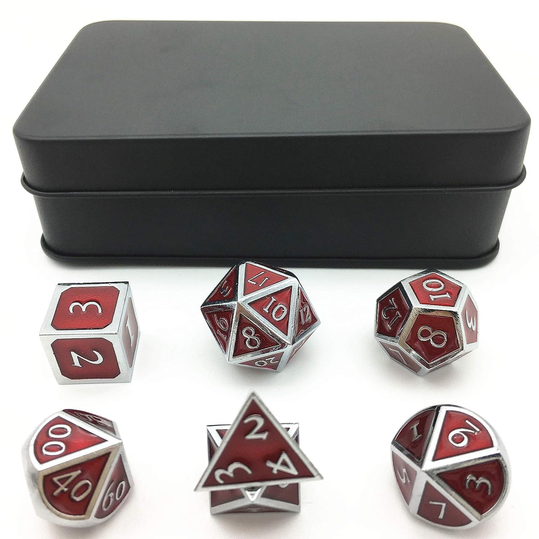 Momostar ソリッドポリードロンダイス、DND RPG用メタリックピンセット、クロームカラー&ブラッドレッドの背景。  Set of 7 + black metal box B07GWQW7KR