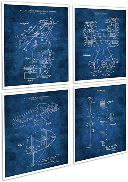 Lake House Decor Set of 4 Unframed Blueprint Art Prints of Water Skiing Equipment Invention Drawings Patents_WaterSki_Blue4A