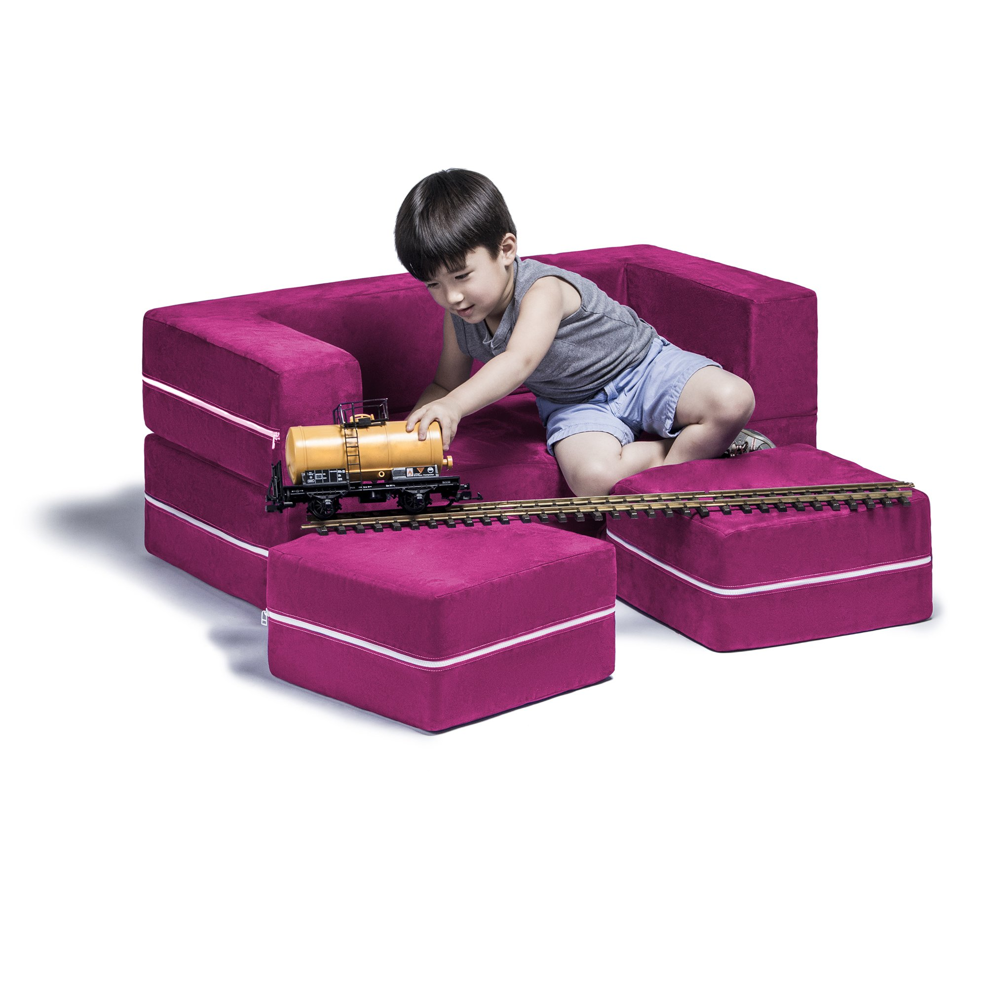 Jaxx Zipline Kids Modular Loveseat & Ottomans / Fold Out Lounger, Fuchsia by Jaxx (Image #1)