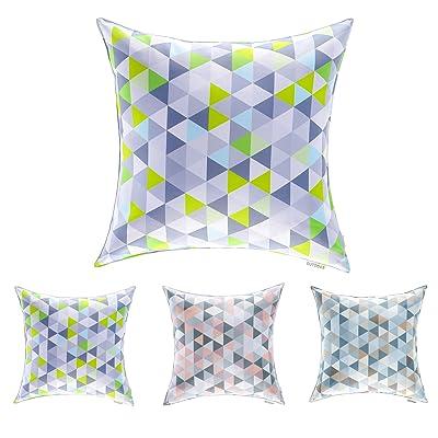 """DreamHome - 18"""" x 18"""" Geometry Indoor/Outdoor Decorative Pillow (Green) : Garden & Outdoor"""