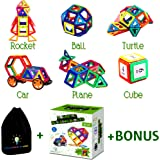 Magnetic Building Blocks for Kids   Educational Toys for Boys and Girls   Magnets Construction Tiles For Children   Build Models with Genius Magnet Kits   Different Shapes and Colors   82 pcs Set