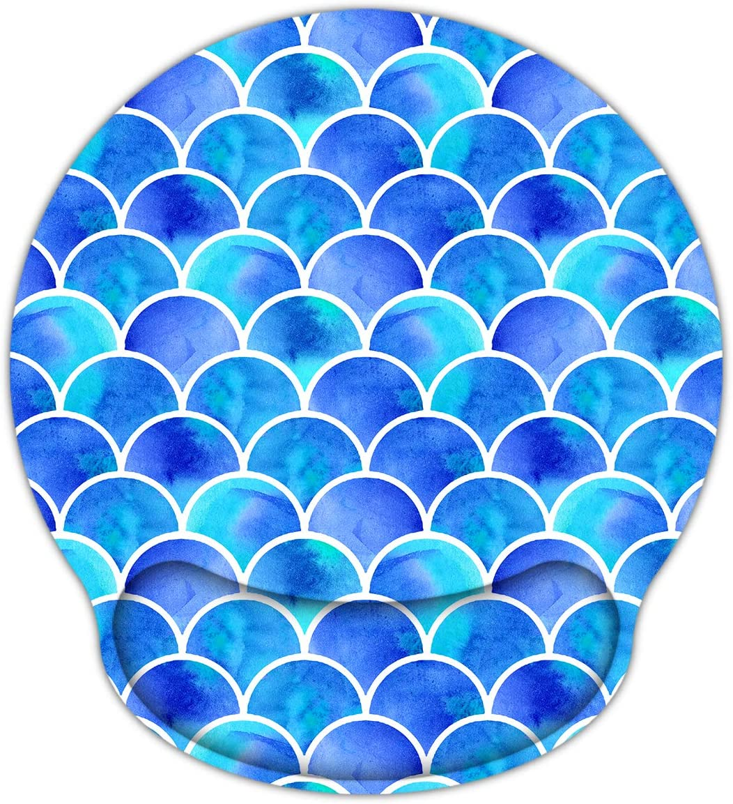 HAPLIVES Memory Foam Non Slip Mouse Pad Wrist Rest for Office, Computer, Laptop & Mac - Durable & Comfortable & Lightweight for Easy Typing & Pain Relief-Ergonomic Support (Blue Mermaid)