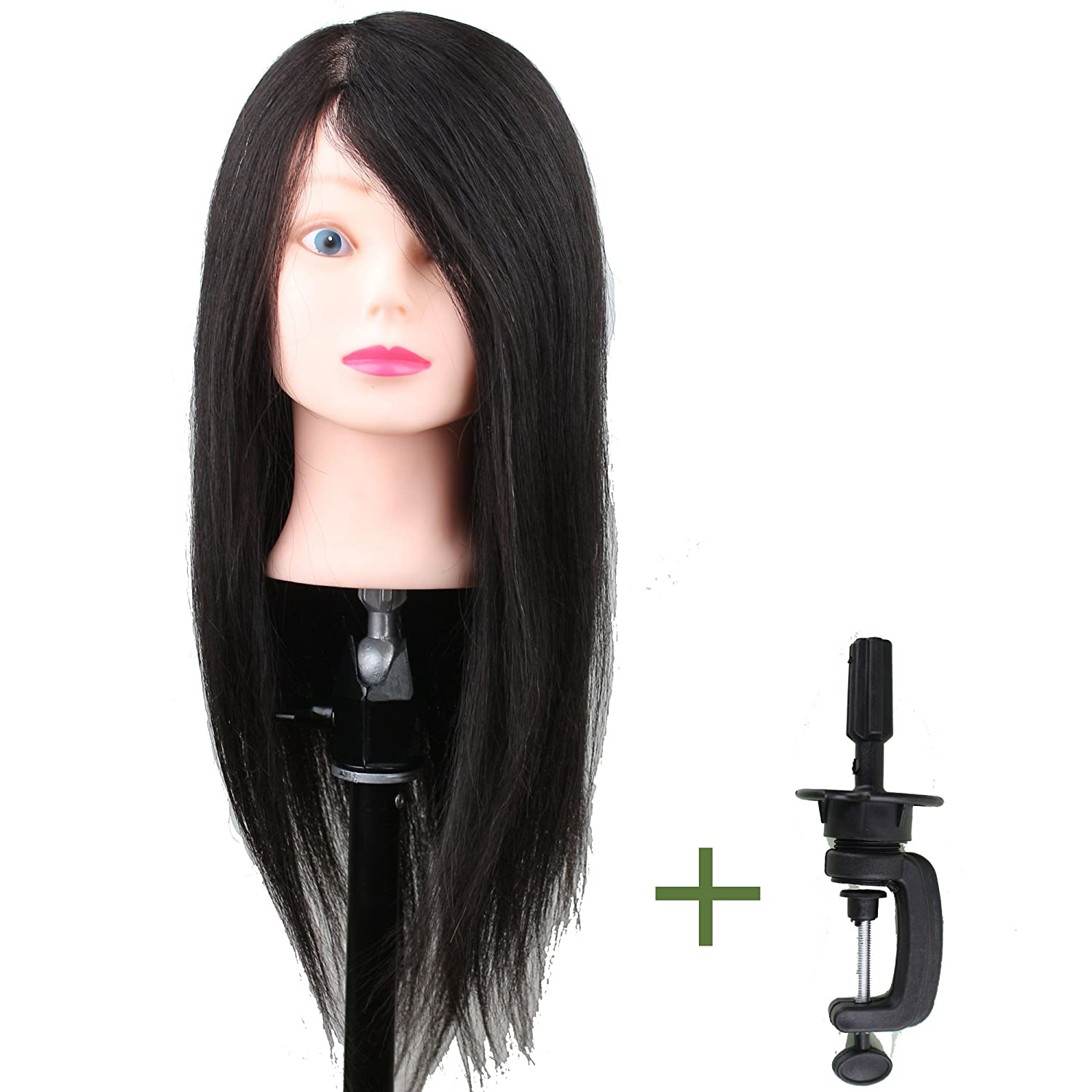 Dreambeauty Salon Trainning Head with Hair and Clamp Holder 22inch Real Human Hair Style Free Black Color Qingdao Feiyang Hair Co. Ltd