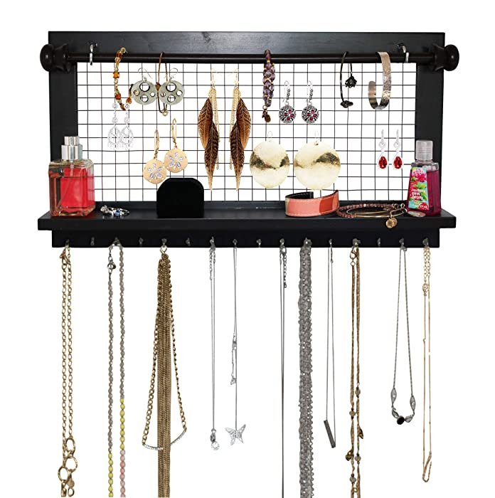 SoCal Buttercup Espresso Jewelry Organizer with Removable Bracelet Rod from Wooden Wall Mounted Holder for Earrings Necklaces Bracelets and Other Accessories