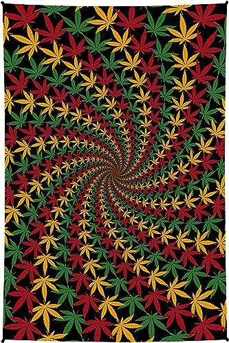 Sunshine Joy 3D Trippy Spiral Mini Tapestry Wall Art Fabric Poster 30×45 Inches – Rasta Leaf
