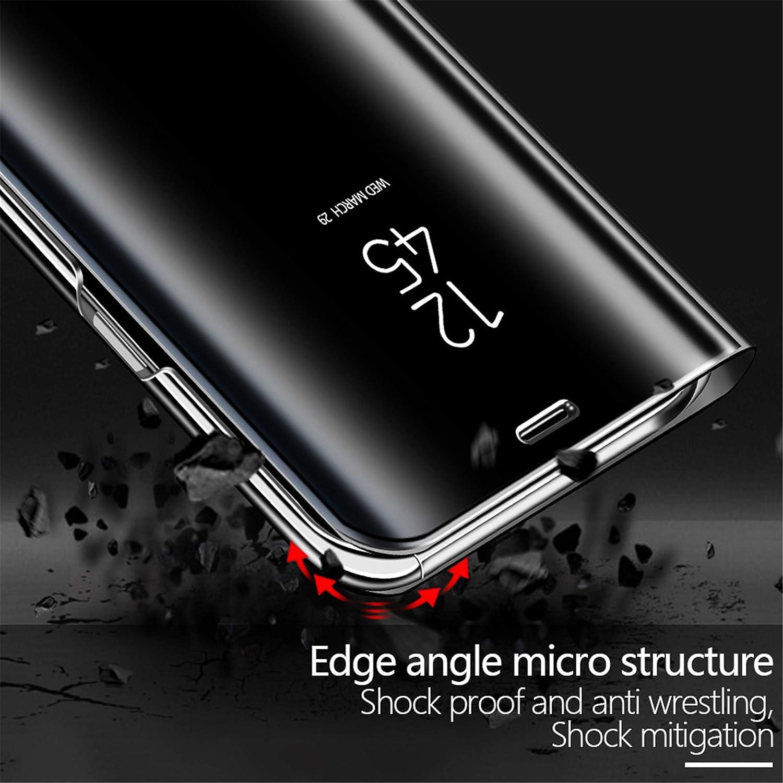 MLOTECH Coque Huawei Mate 20,+Verre tremp/é Flip Clear View Translucide Miroir Cover Standing 360/°Housse /étui Antichoc Smart Cover Bumper Or Rose