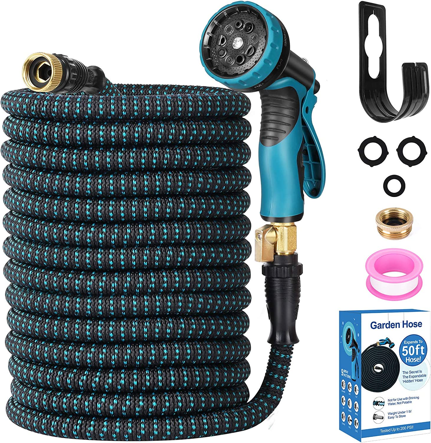 Expendable Garden Hose, Homga 50FT Garden Water Hose with 9 Function Nozzle and 3-Layers Latex, Heavy Duty Kink Free Water Hose with 3/4