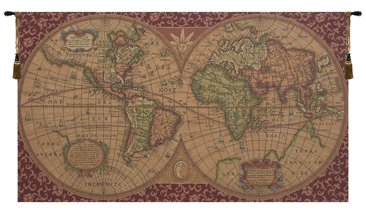 Amazon Com Charlotte Home Furnishings Inc Old Map Of The World Red