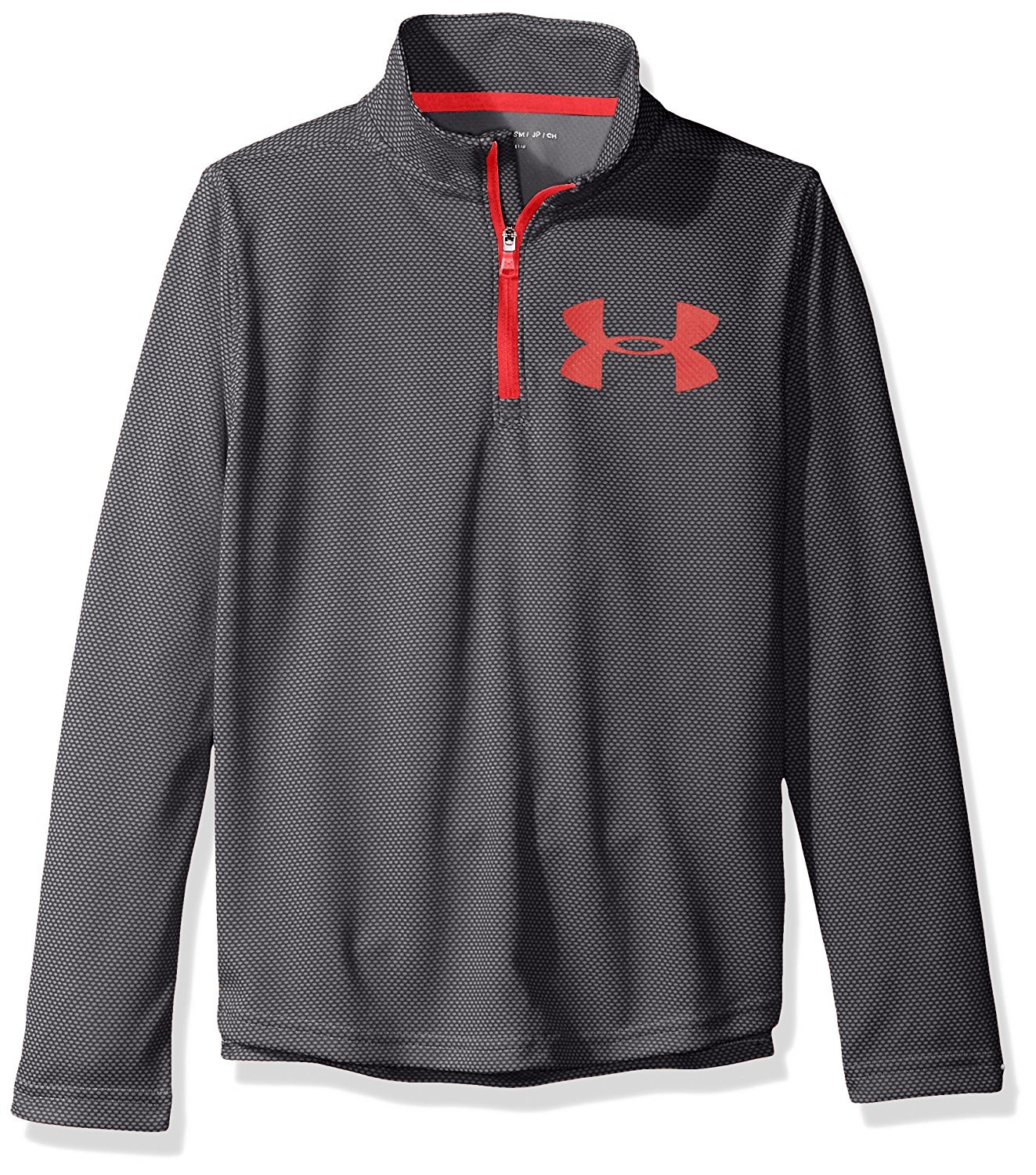 Under Armour Kids Boy's Textured Tech 1/4 Zip (Big Kids) Cruise Blue/Quirky Lime X-Large by Under Armour