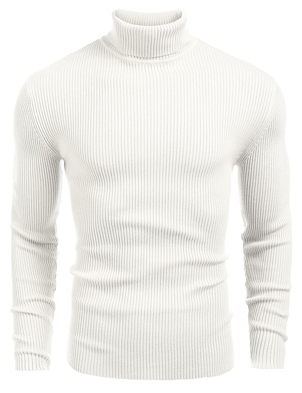 aedf9dbcb207 COOFANDY Mens Ribbed Slim Fit Knitted Pullover Turtleneck Sweater ...