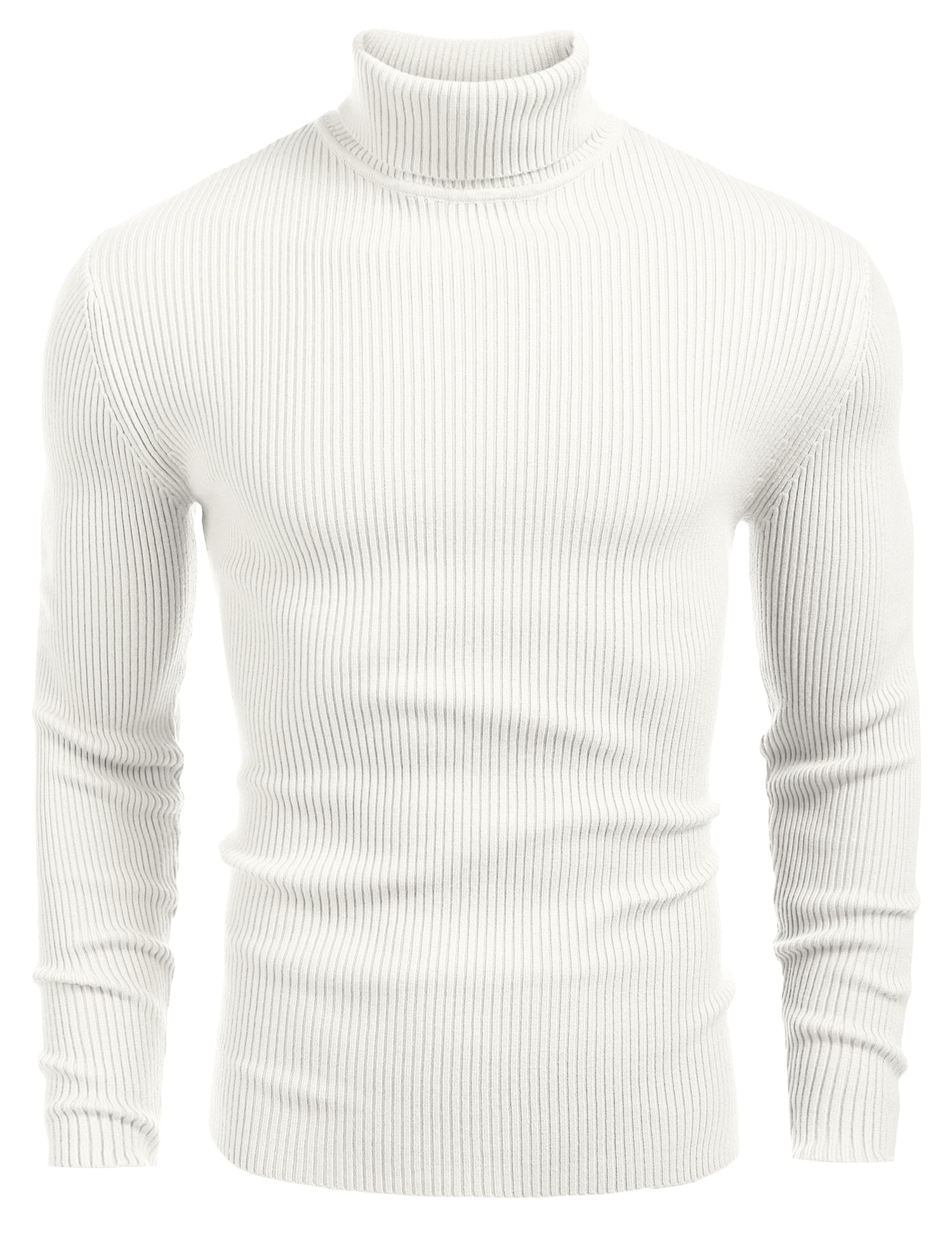 Coofandy Mens Ribbed Slim Fit Knitted Pullover Turtleneck Sweater White Small