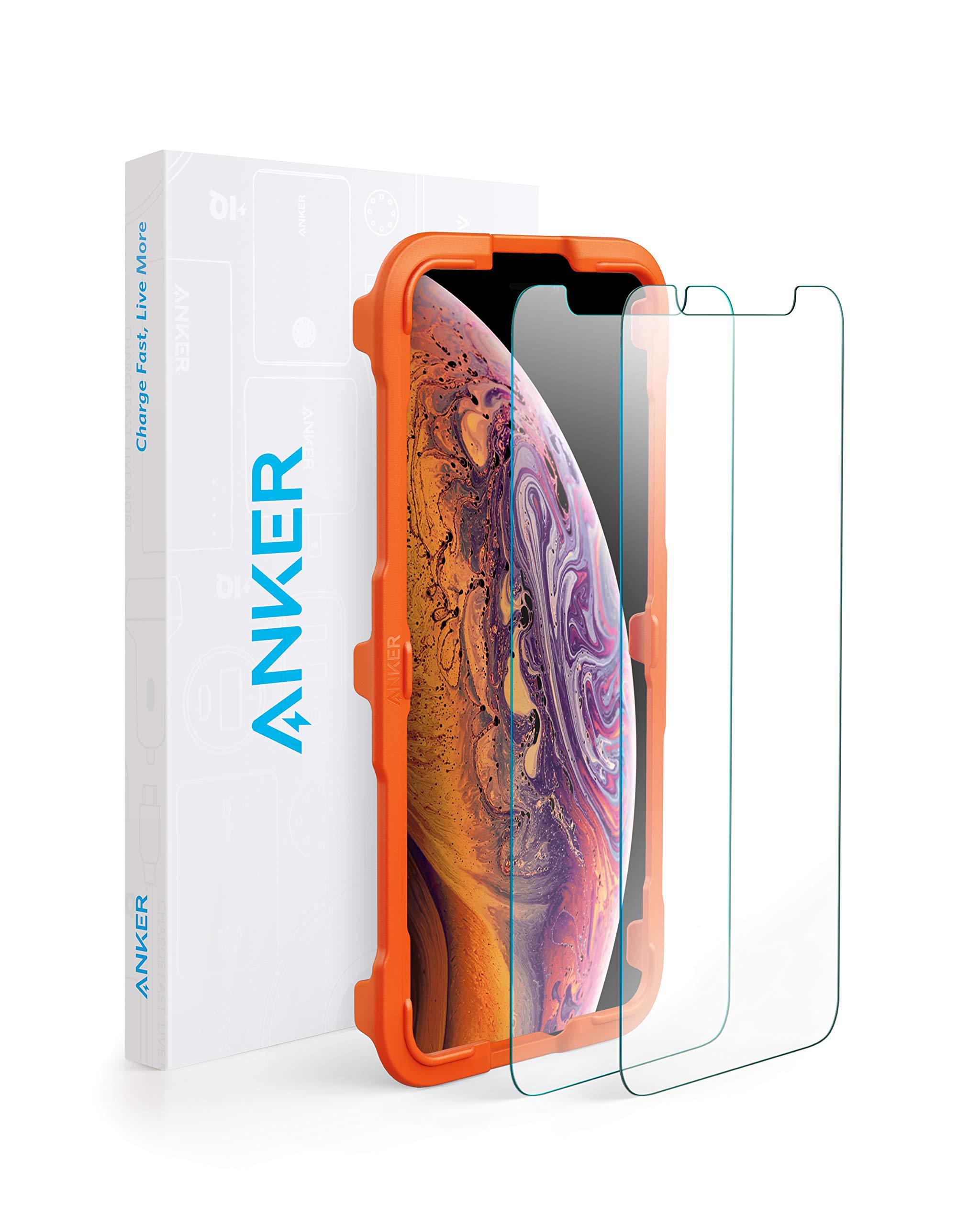 【2枚セット / 専用フレーム付属】Anker GlassGuard iPhone XS Max用 強化ガラス液晶保護フィルム 【3D Touch対応 / 硬度9H / 簡単貼付】