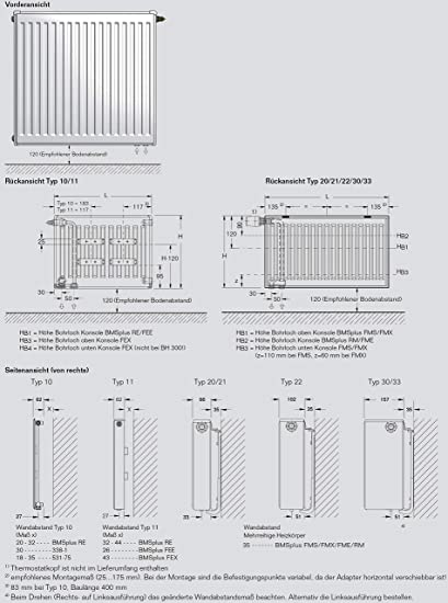 gratis Wandbefestigung WUNSCHBREITE 400 bis 3000mm einfach ausw/ählen  Breite 400mm Rohranschl/üsse seitlich Blind- Entl/üftungsstopfen AUSTAUSCH HEIZK/ÖRPER BUDERUS C-Profil Typ11 H/ÖHE 300mm