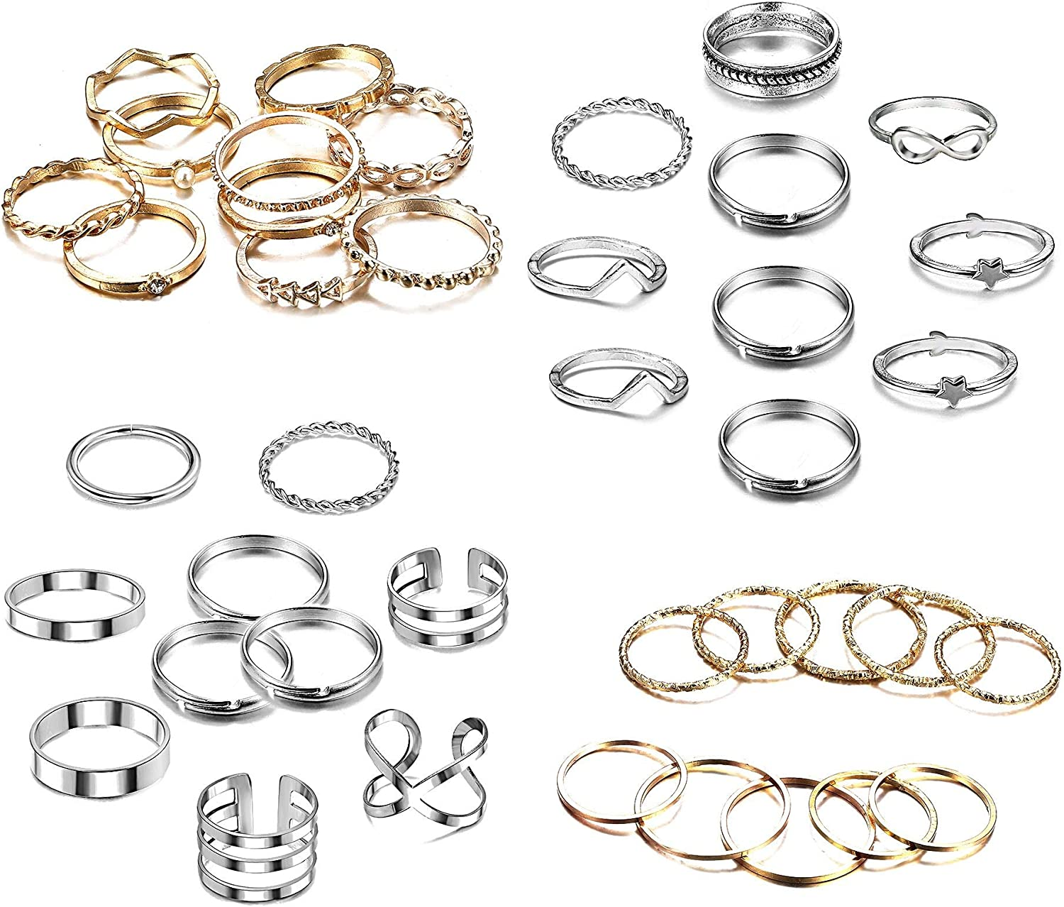 sailimue 40 PCS Simple Knuckle Midi Ring Set for Women Men Bohemian Vintage Finger Stackable Rings Set DIY Jewelry Gifts Silver/Gold Tone