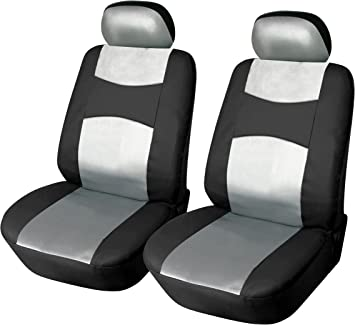 2 SILVER SEAT COVERS WITH BARS