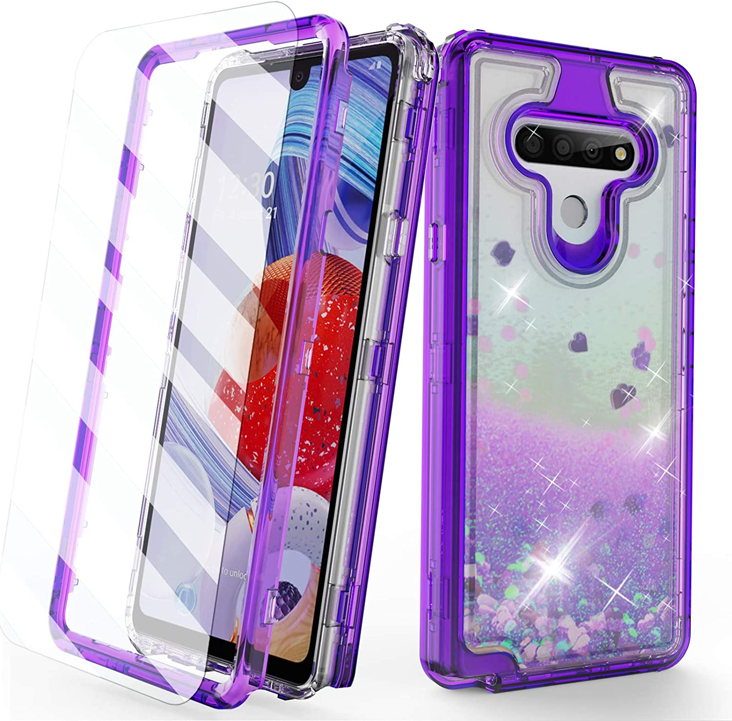 AMPURSQ Case for LG Stylo 6 LMQ730, LG K71 Stylus Case Glitter Liquid Moving Quicksand Design Heavy Duty Protection with Rugged Hard PC and TPU Bumper Cover for Android LG Phone (Purple)
