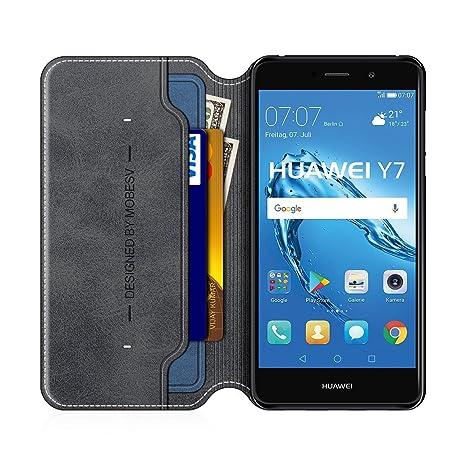 MOBESV Smiley Funda Cartera Huawei Y7 2017, Funda Cuero Movil Huawei Y7 2017 Carcasa Case con Billetera/Soporte para Huawei Y7 2017 - Negro/Azul ...