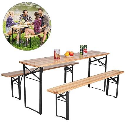 DUSTNIE Outdoor Camping Portable Picnic Table   Wooden Bench Tables Patio  Garden Backyard Front Porch Pool