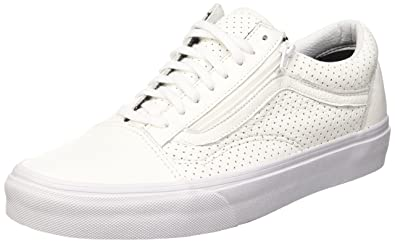 1f0bd61ce7b4 Vans Old Skool Zip Peforated Leather True White (11.5 Women / 10 Men M US