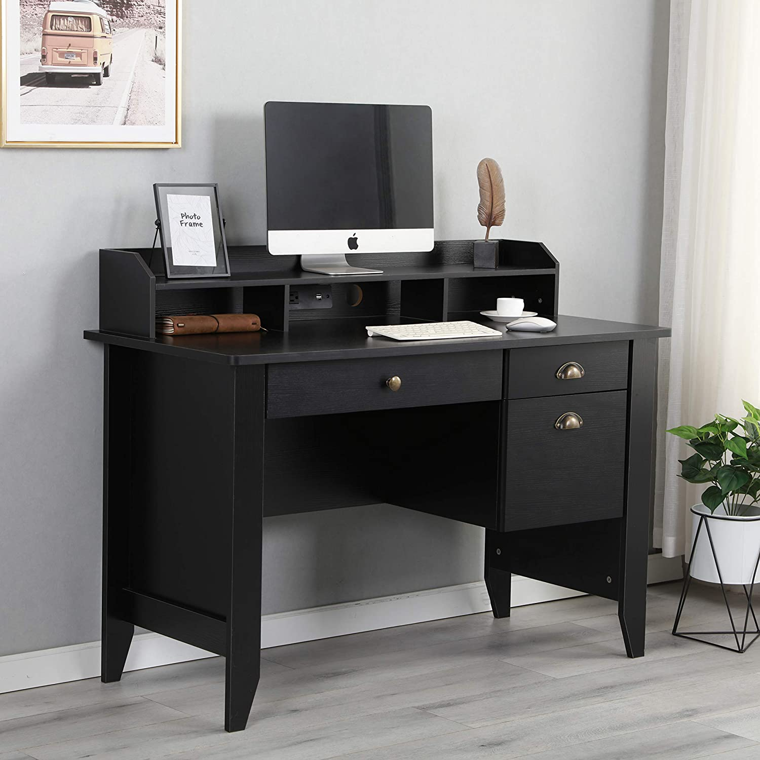 Amazon com executive desk 47 office desk pc laptop home office study writing table with usb and charger hubblack kitchen dining