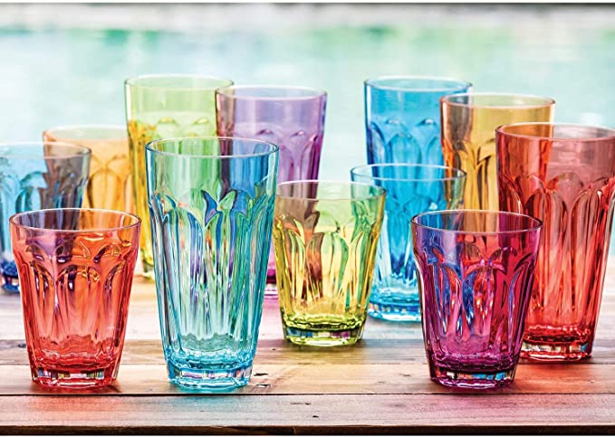 Amazon Com Tritan Highball And Dof Tumbler Set 12 Pack Multicolor Highball Glasses