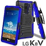 LG K8 V Case, CellJoy [Ultra Rugged] (ShockProof) For LG VS500 / K8V 2016 Verizon Reinforced Impact Bumper [Heavy Duty] Protection Cover With Kickstand [Locking Swivel Belt Clip Holster Combo] (Blue)