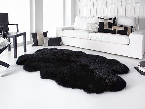 HUAHOO Genuine Sheepskin Rug Real Sheepskin Blanket Natural Fur Quarto 4ft x 6ft, Black