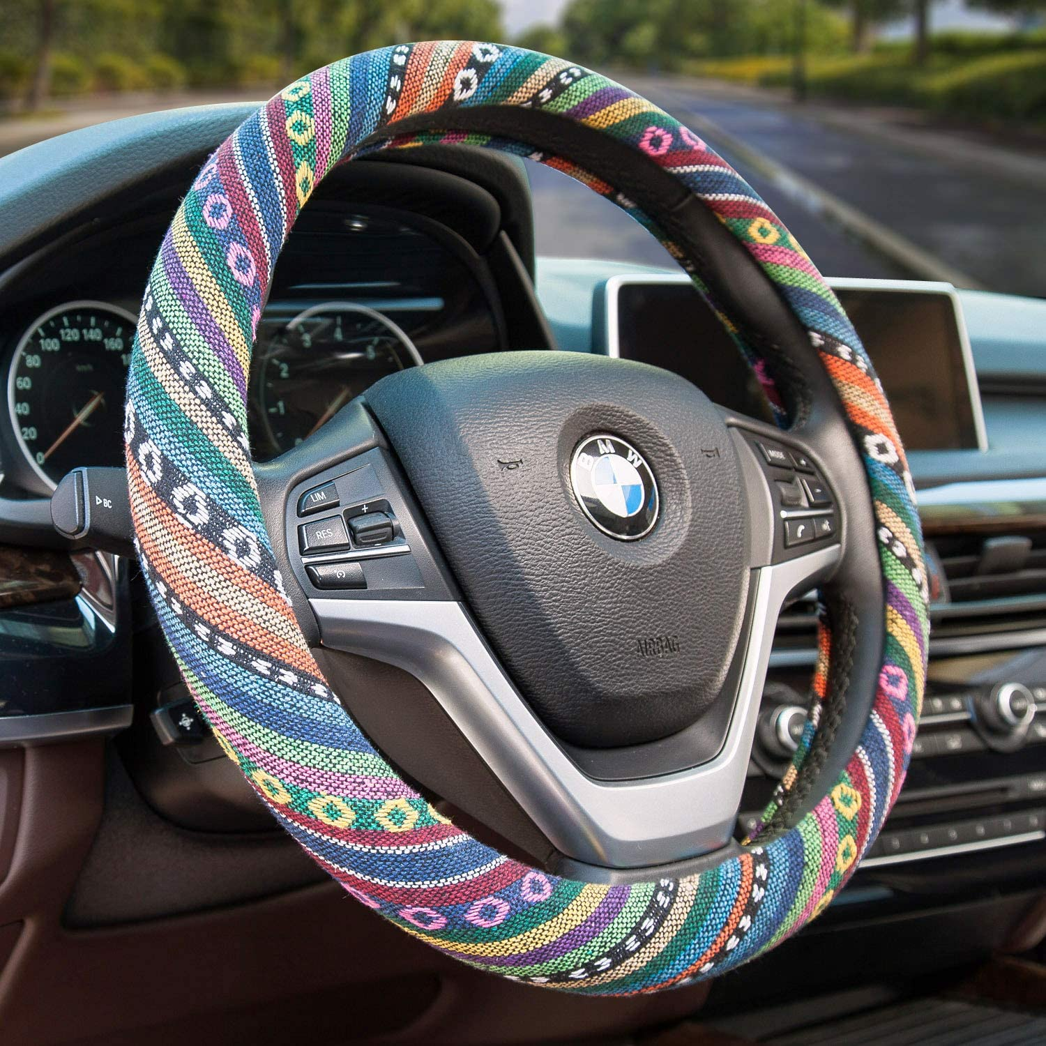 Valleycomfy Boho Universal 15 inch Steering Wheel Covers with Cloth for Women