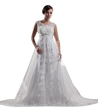 ImPrincess ip4-5811-i0 Wedding Dress Vintage Style Bateau Sleeveless V-shape Back