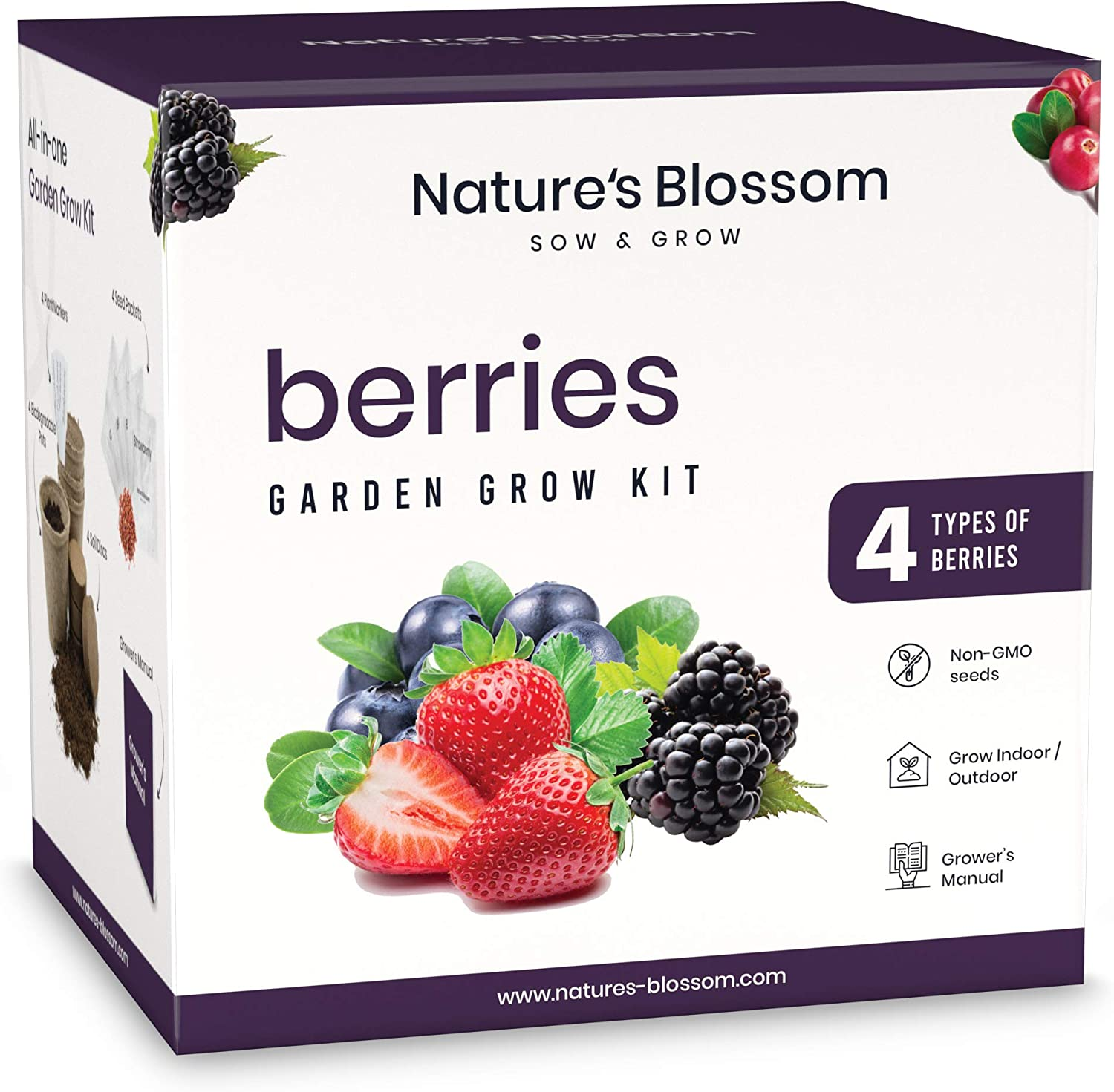 Nature's Blossom Sow and Grow Berries Seed Starter Kit - Beginners Gardening Set with Everything You Need to Grow 4 Different Fruits from Seeds. Fun Gift Idea for Men and Women
