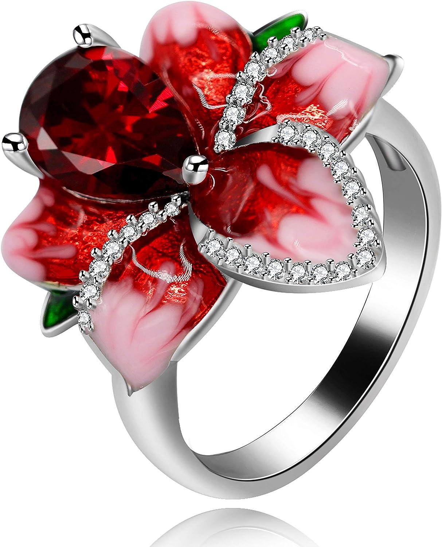 Uloveido Girl'S Beautiful Red Enamel Rose Ring para Mujer Blossom Flower Anillos con cóctel de circonita cúbica con Corte de Pera Anillo de Verano RA627