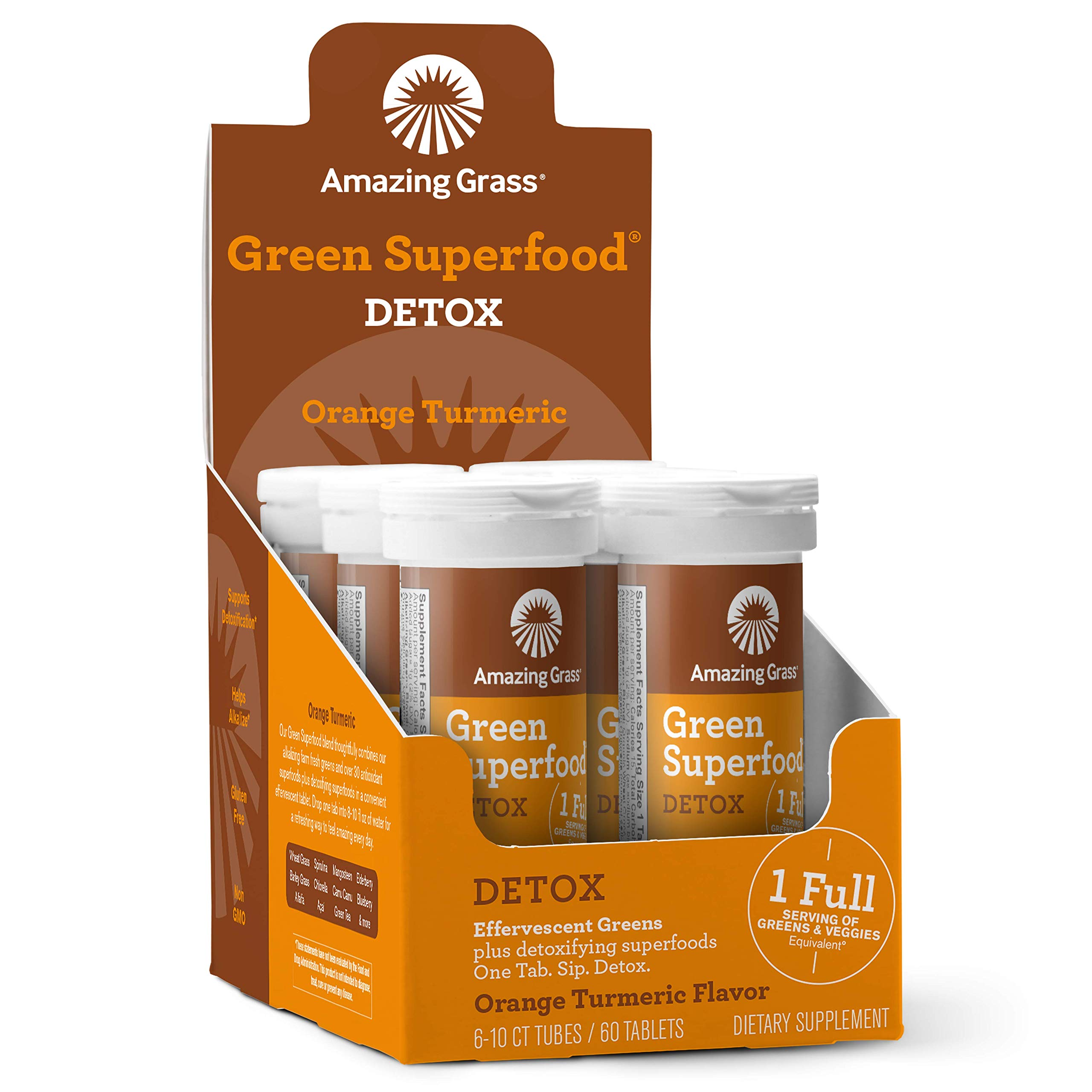 Amazing Grass Green Superfood Detox: Effervescent Detoxifying Drink Tablets, Turmeric for Inflammation support, Antioxidants for full body recovery, Orange Turmeric Flavor, 60 Servings
