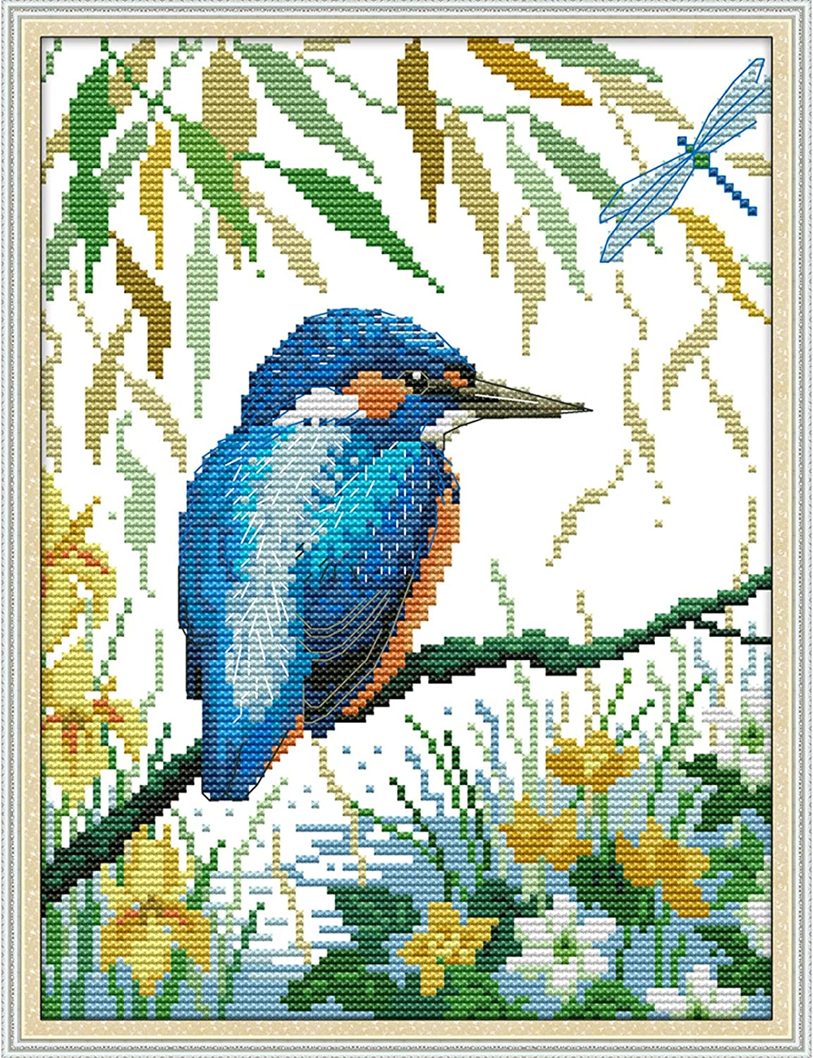 Printed Cross Stitch Kits 11CT Full Range DIY Embroidery Starter Kits Easy Patterns Embroidery for Girls Crafts DMC Cotton Stamped Cross-Little Bird 11x15 inch