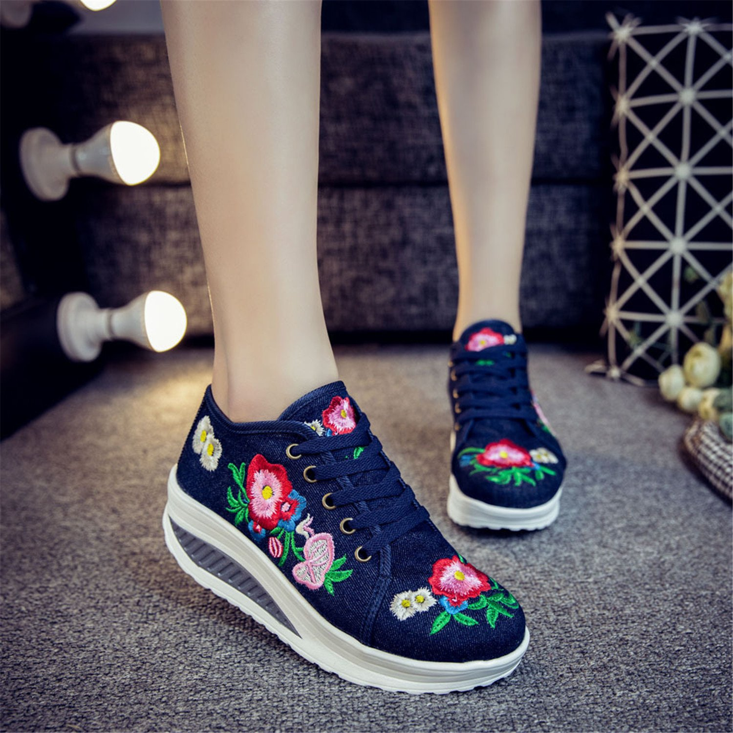 Qhome Womens Peony Embroidery Comfortable Casual Walking Canvas Lace-up Elevator Round-Toe Rocking Shoes